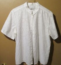 Liz Claiborne Blouse Ladies size 12 short sleeve White semi sheer (8--B7)