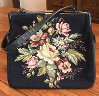 Vintage 1950s Large Black Needlepoint Rose Floral Tote Purse EUC!