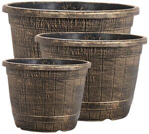 Bronze Wooden Barrel Plant Pot Outdoor Garden Flower Tree Round Plastic Planter