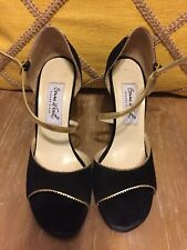 Comme Il Faut Women's Black Suede And Gold Cross Ankle Strap Tango Shoes Size 37