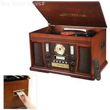 Victrola Nostalgic Aviator Wood 7 In 1 Bluetooth Turntable Entertainment  Center