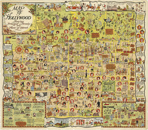 """Map of Hollywood 1928 Whimsical Harrison Godwin Poster Wall Art Print 11""""x12"""""""
