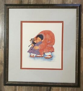 """1990 Barbara Lavallee Print """"Hugs and Kisses"""" 18x16 Signed Lithograph"""