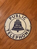 VINTAGE Public Telephone Bell System Sign 7x7 B Porcelain Enamel