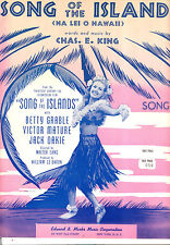 "Song Of The Islands Sheet Music ""Song Of The Islands"" Betty Grable"