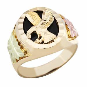 Black Hills Gold Mens Onyx Eagle Ring
