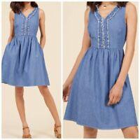 Modcloth Women's Blue Chambray Pleat Sleeveless Fit Flare Dress Size L
