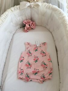 janie and jack NWT Pink Flower Romper 6-12 Months