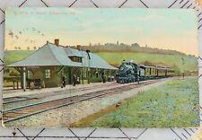 B.R. & P. Depot (Train Station) Sykesville PA Early 1900's Postcard PC Railroad