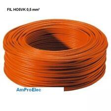 Fil électrique souple HO5-VK 0,5 mm² 5 ou 10 ou 15 mètres 9 Couleurs différentes