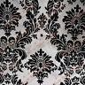 Damask Flocked Taffeta Fabric 58 inches width sold by the yard Grey / Black