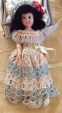 Vintage Doll With Handmade Crocheted Dress, Under Garments And Hat
