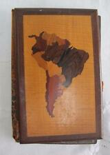 Antique South America Various Inlaid Woods Treen Desk Top Blotter Folio Book