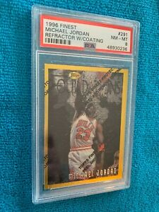 1996 Finest Michael Jordan Refractor w/coating. Foundations #291 PSA 8 Nm-Mt.