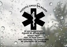 Autistic Child On Board Design Autism Child Emergency Car Decal Vinyl Sticker