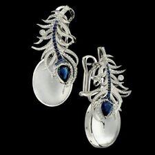 Blue Sapphire Women Prom Jewelry Gift 925 Silver Moonstone Ear Dangle Earrings