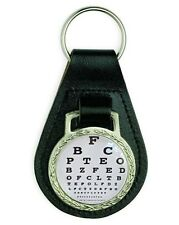 OPTICIAN EYE CHART OPTICAL GLASSES LEATHER KEYRING