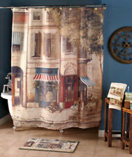 French Café De Paris Bathroom Set Toothbrush Holder Soap Pump Shower Curtain Rug