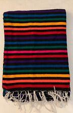 Mexican Serape Blanket Dark  Rainbow Southwest White Fringe XL