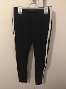Zara Trafaluc Black & White Stripe Thick Leggings Size M