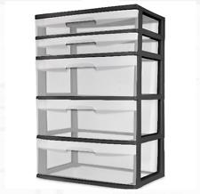 5 Drawer Wide Tower Sterilite Dresser Heavy Duty Storage Organizer Clear, Black