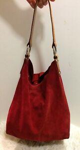 LK Bennett Retro Red Suede Leather BOHO HOBO SLOUCH Bag