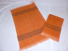 Pr Vtg JC Penneys Rust Colored Sculpted Hand Towels