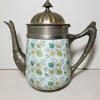 Antique Enamel Graniteware Coffee Pot Pewter Trim Lt Green w/Daisy Pattern 9.5""