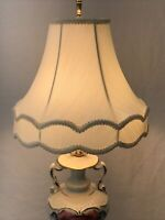 Vtg Victorian Art Deco Lamp Shade Ivory Off-White Fabric Scallop 12x10 Farmhouse