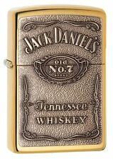 Zippo 254BJD-428, Jack Daniel's Whiskey, Emblem,  High Polish Brass Lighter