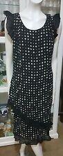 Beautiful Geoff Bade dress.Sz12.Black x beige spot chiffon lined.Excellent cond