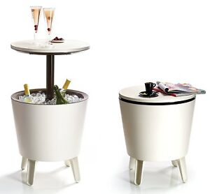 Keter Cool BAR Table Fridge Coolers Exterior Interior, For 45 Tins, 19 11/16x16
