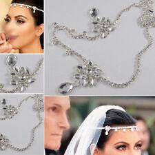 Womens Crystal Rhinestone Wedding Bridal Forehead Head Hair Band Head Chain UK*