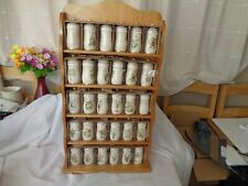More details for vintage flower fairies spice jars x 30 plus spice rack honey pine