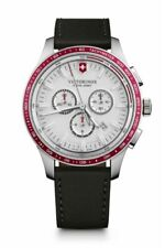 Victorinox Swiss Army Alliance Sport Chronograph Black Leather watch 241819 New.