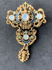 Vintage Florenza Brooch Opalesant Turquoise Rhinestone Set Gold Tone Metal