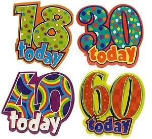 """Large 18 30 40 60 Colourful 7cm (2.75"""") Birthday Today Badge 18th 30th 40th 60th"""