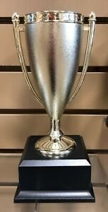 """LOVING CUP TROPHY PLASTIC CUP BLACK WOOD BASE 10"""" FREE ENGRAVING  FAST SHIPPING"""