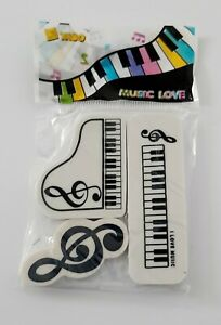 Music Piano Notes Novelty Erasers 3pcs (Music-Themed Stationery)