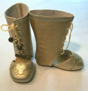 """Unique Leather Golden Boots for a 30"""" Doll S002"""