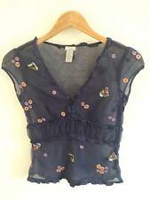 Anthropologie Odille Sz 2 Blue Mesh Embroidered Shirt Ruffles Floral Overlay