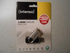 INTENSO USB-Stick 32 GB Basic Line, schwarz-metallic; dreh.Schutz-Bügel, NEU+OVP