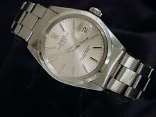 Mens Rolex Date Stainless Steel Watch Domed Bezel Oyster Rivet Band Vintage 1500