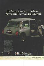 PUBLICITE  1983  AUSTIN MINI MAYFAIR succombe au luxe....