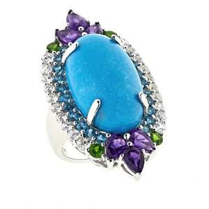 Mehers Jewel Turquoise, Chrome Diopside London Blue Topaz & Amethyst Silver Ring