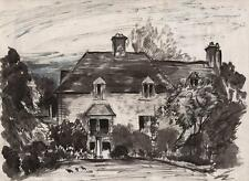 ROBERT KIRKLAND JAMIESON Watercolour Painting COUNTRY HOUSE LANDSCAPE c1930