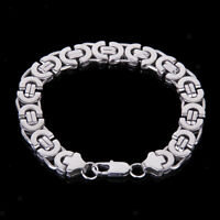 Stainless Steel Heavy Link Silver Curb Cuban Chain Men Cuff Bracelet Bangle