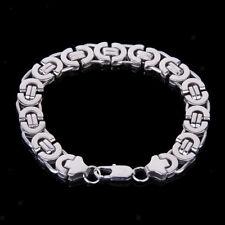 Stainless Steel Heavy Link Silver Curb Cuban Chain Men Cuff Bracelet Bangle