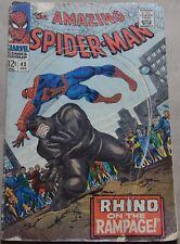 AMAZING SPIDER-MAN #43 (MARVEL, 1966) Rhino appearance and origin. 1st full MJ.