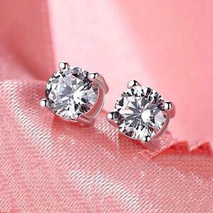 925 Silver Cubic Zirconia Crystal Stone Stud Earrings Earrs for Womens Girls 6mm